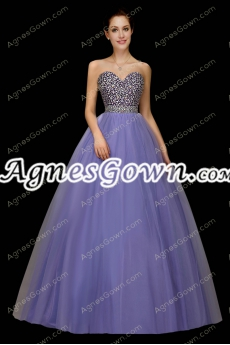 Pretty Lavender Quinceanera Dress With Rhinestones