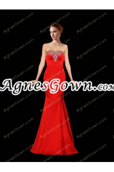 Stylish Red Satin Mermaid Prom Dress With Great Handwork
