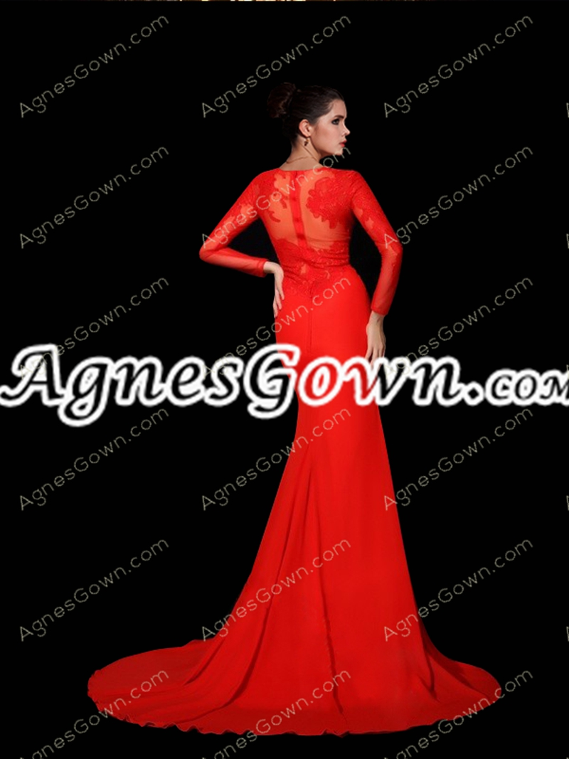 Long Sleeves Red Chiffon Evening Dress With Lace