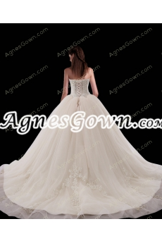 Corset Back Ivory Ball Gown Wedding Dresses With Lace