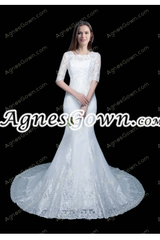 Vintage 1/2 Sleeves Mermaid/Fishtail Lace Wedding Dress
