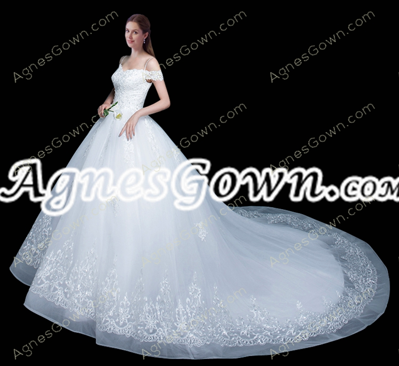 Exclusive Spaghetti Straps Off Shoulder Princess Ball Gown Wedding Dress