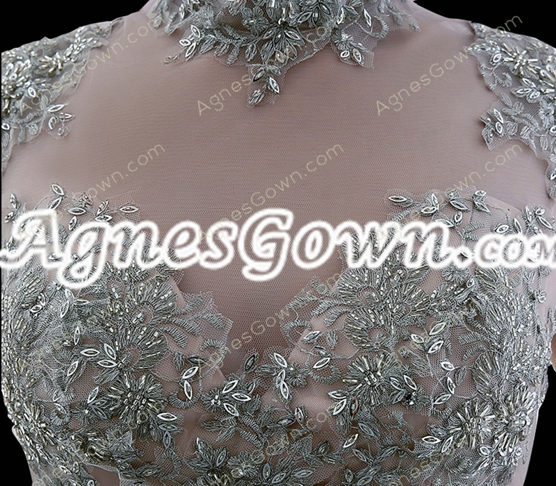 High Collar Silver Gray Ball Gown Quince Dress Cap Sleeves