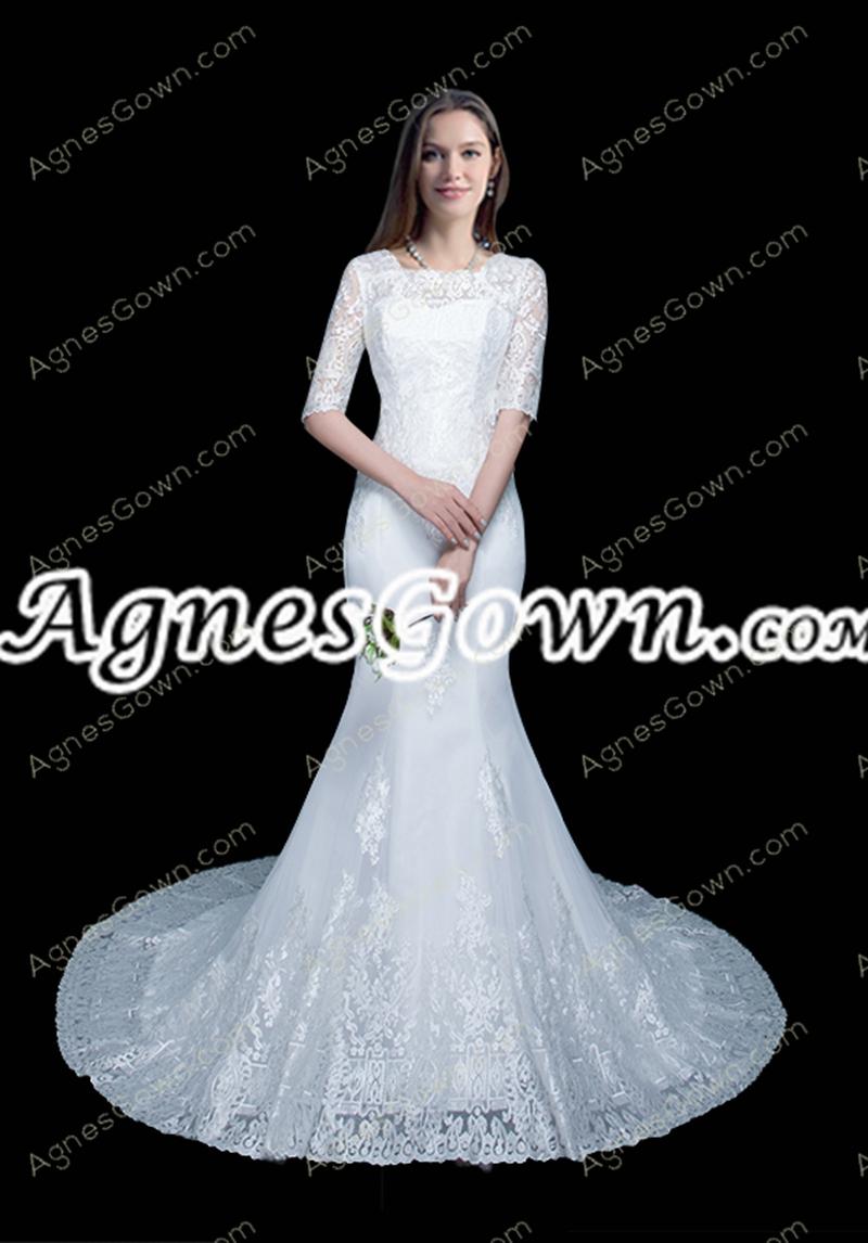 Vintage 1/2 Sleeves Mermaid/Fishtail Lace Wedding Dress
